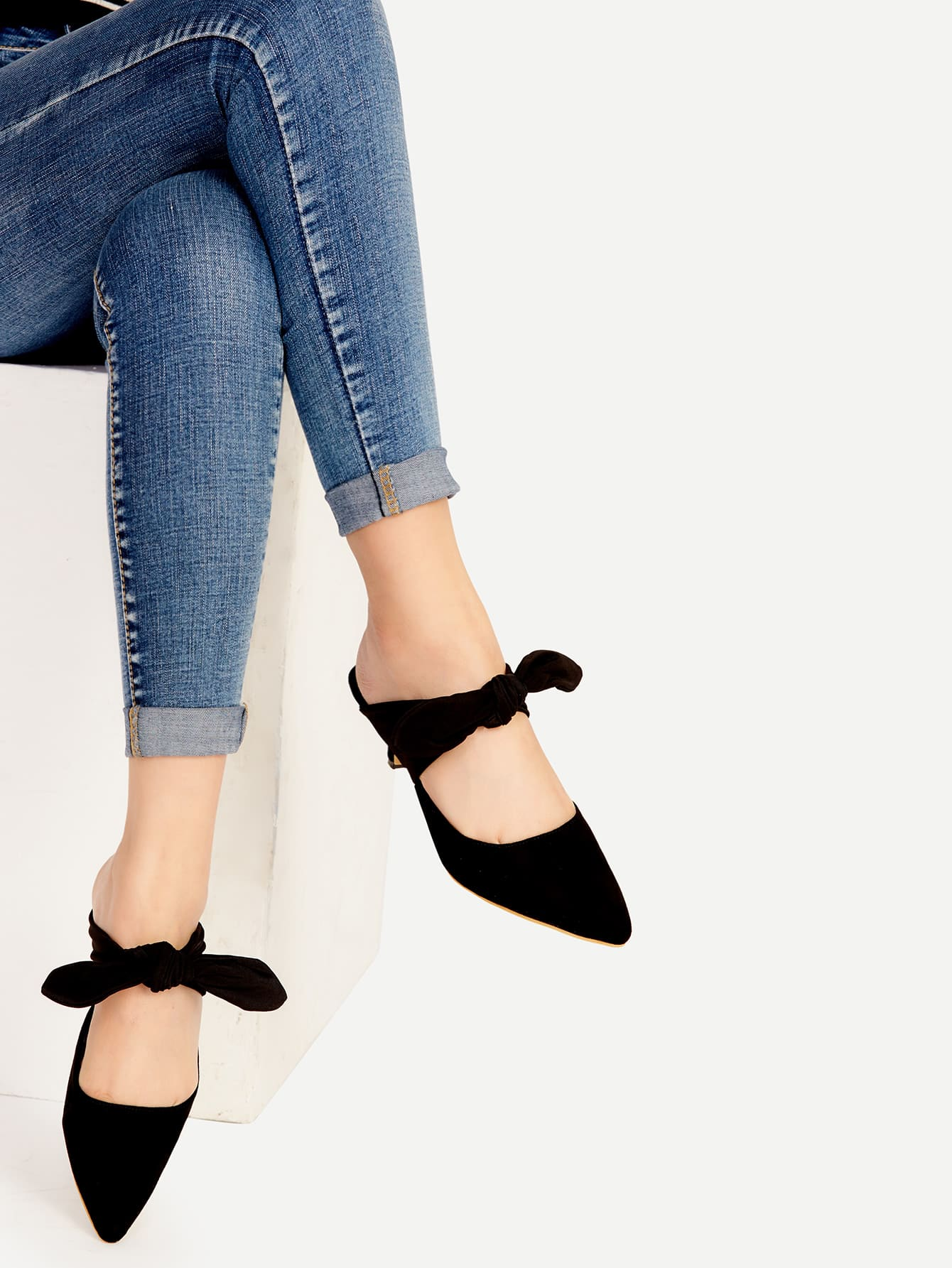 Black Point Toe Bow Tie Heeled Mules black choker with bow tie