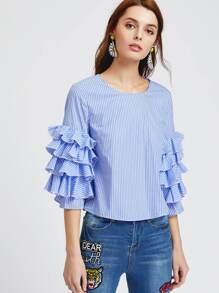 Blue Striped Layered Ruffle Sleeve Top