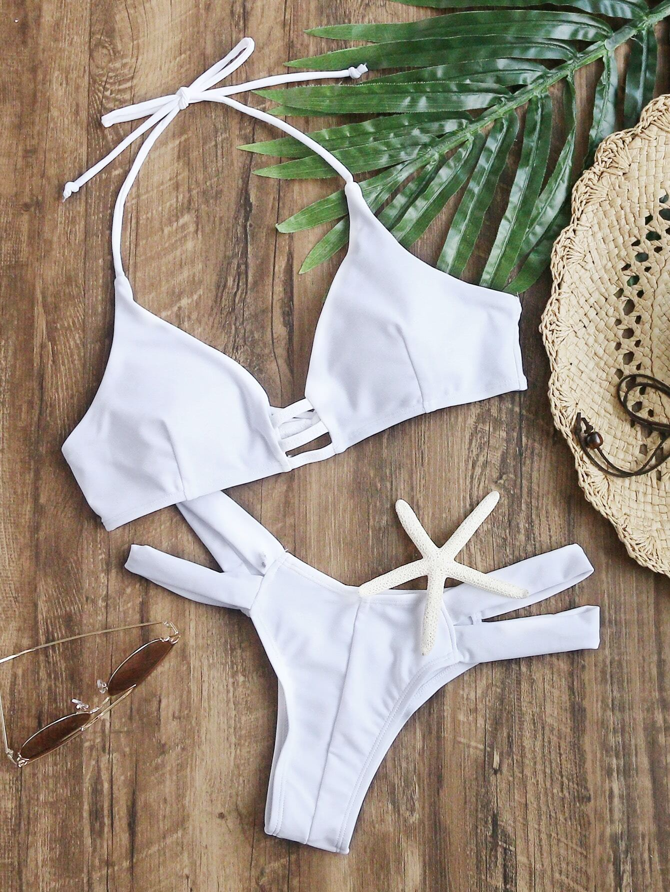 White Cutout Halter Sexy Bikini Set swimwear170207302