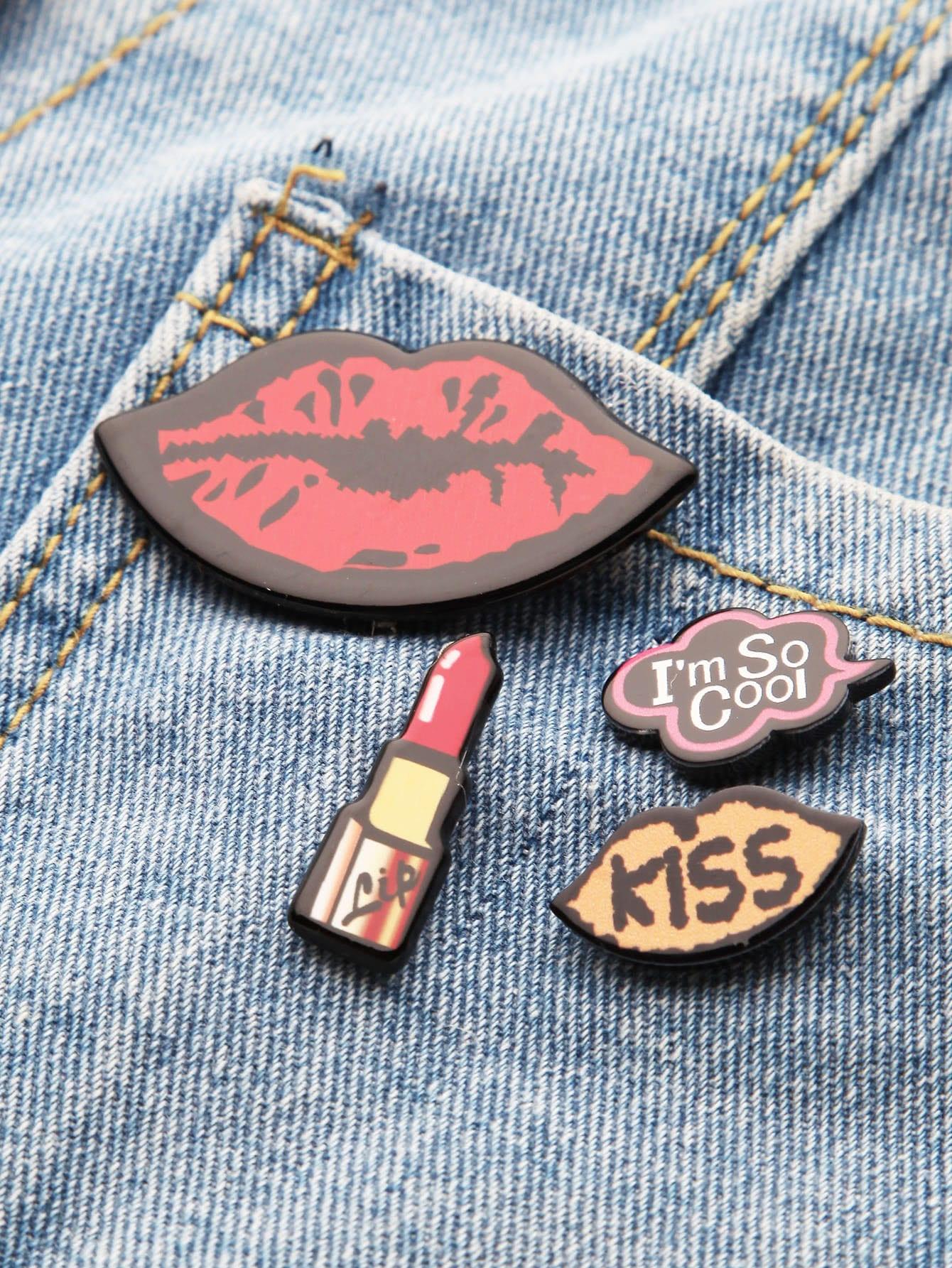 Red Lip Pin Set
