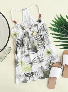 Tropical Print Loop Back Beaded Babydoll Cami Top