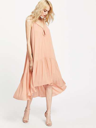 Pink Keyhole Front High Low Tiered Swing Dress