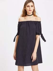 Pinstripe Off The Shoulder Self Tie Sleeve Dress