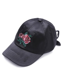 Black Rose Embroidery Baseball Cap