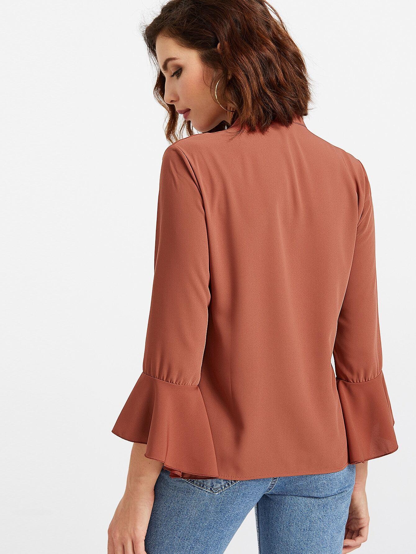 Brown bow tie neck bell sleeve shirt shein sheinside for Bell bottom sleeve shirt