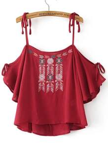 Red Embroidered Cold Shoulder Blouse