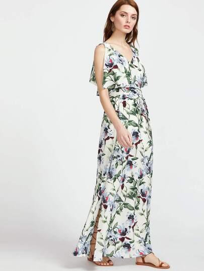 Botanical Print Surplice Wrap Split Dress