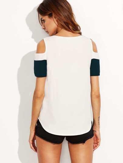 Wide Striped Open Shoulder Curved Hem Top Shein Sheinside