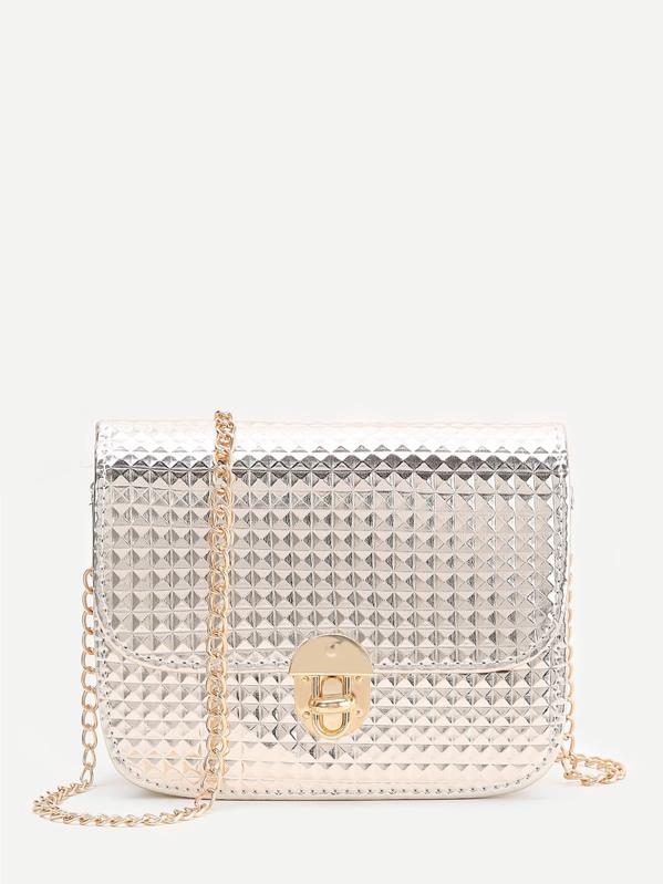 Gold Diamond Textured Twist Lock Chain Bag, null