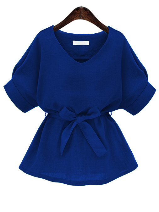 Royal Blue Plunging Neckline Bow Tie Waist Blouse