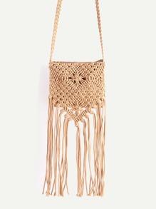 Khaki Tassel Detail Straw Crossbody Bag