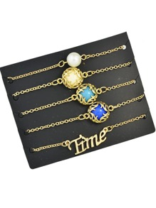 Sets de brazaletes con diseño de piedra preciosa de imitación estilo boho-beige
