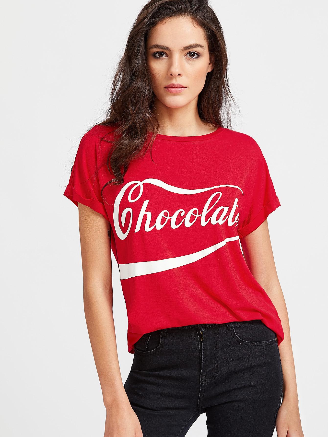Купить Красная модная футболка с текстовым принтом, Carolina, SheIn