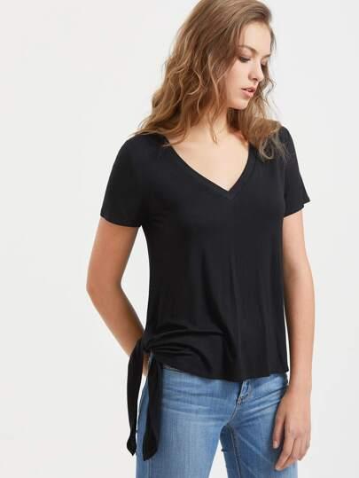V-Neck-Shirt mit Seiten Knoten