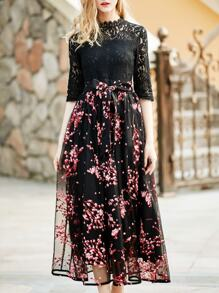 Red Tie-Waist Gazue Print Lace Dress