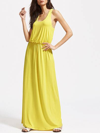 Yellow Scoop Neck Elastic Waist Racerback Tank Dress