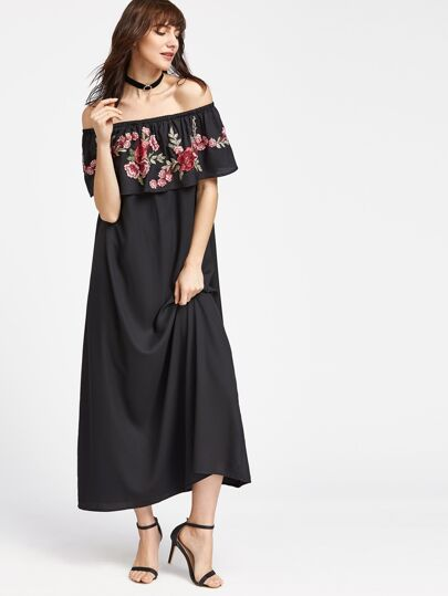 Embroidered Rose Patch Frill Bardot Dress