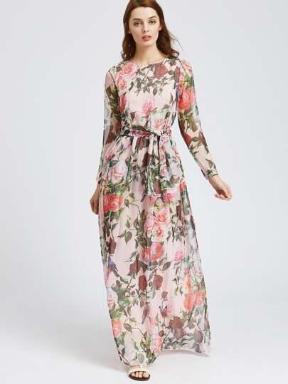 Calico Print Chiffon Maxi Dress With Self Tie