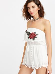Flower Embroidered Patch Pom Pom Trim Layered Romper