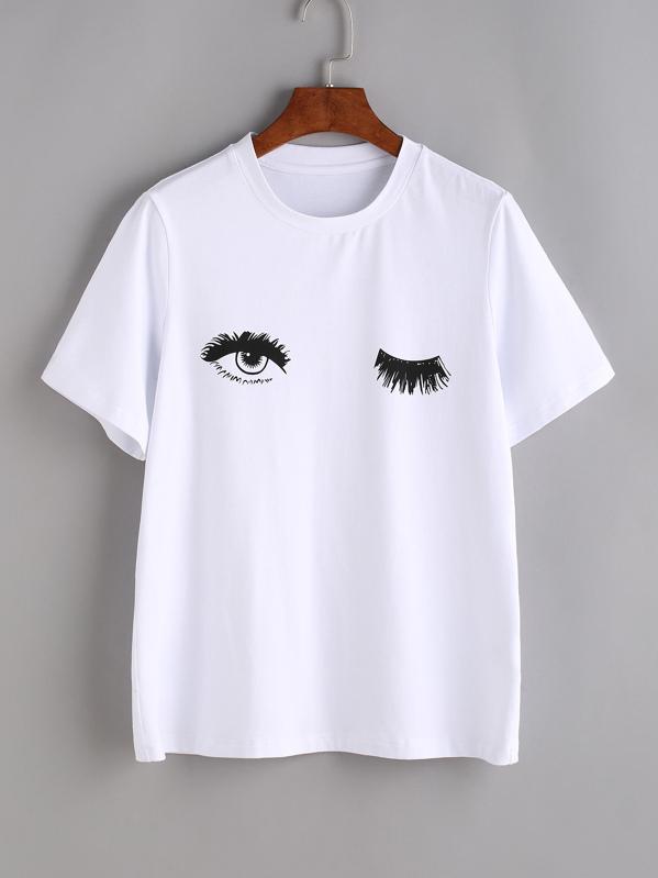 Wink Eyes Print Tee, null