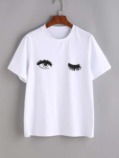 Camiseta con estampado de ojos - blanco