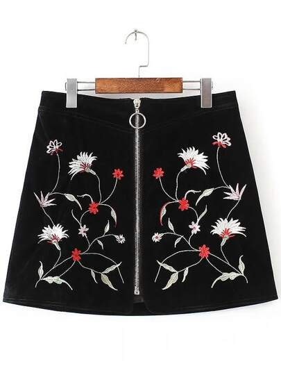 Black Embroidery Front Zipper A Line Skirt