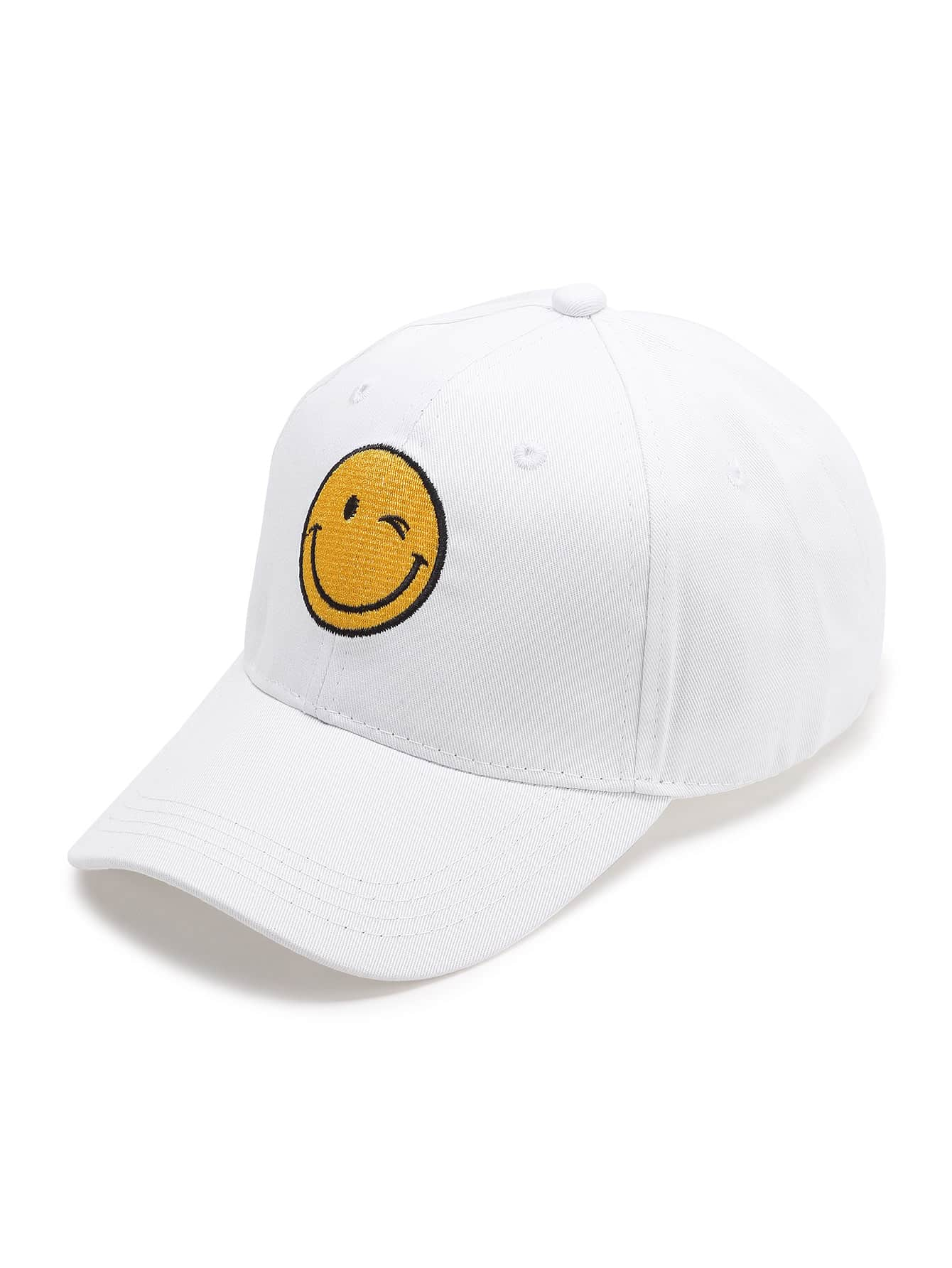 White Emoji Embroidery Baseball Cap