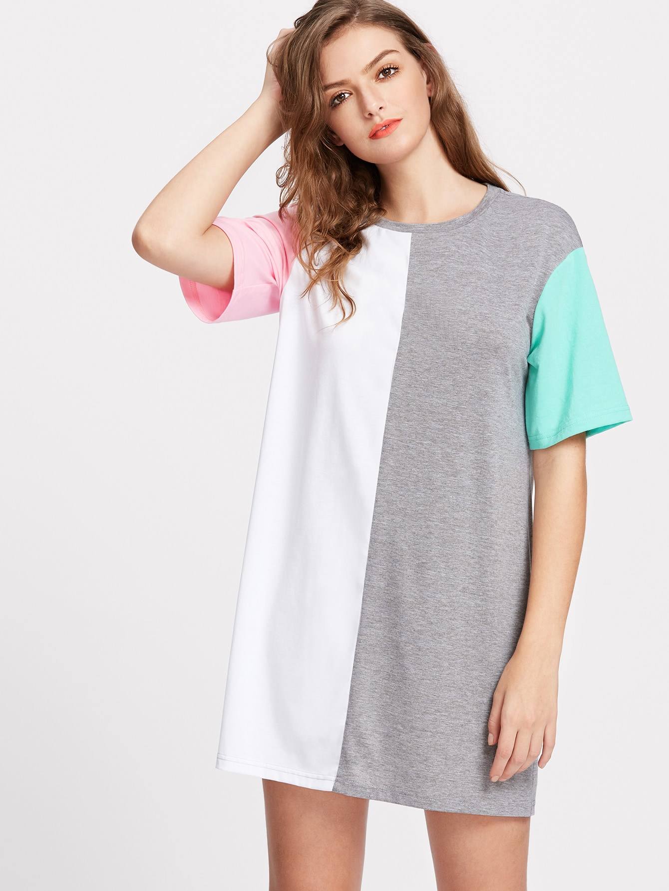 Color Block Cut And Sew Tee Dress cut and sew cami dress