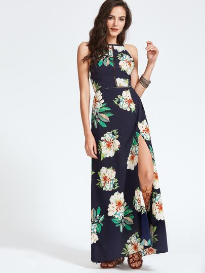 Navy Florals Open Back Fliege Slit Hem Kleid