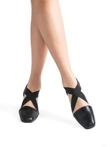 Black Cross Chunky Heeled Ballet Shoes