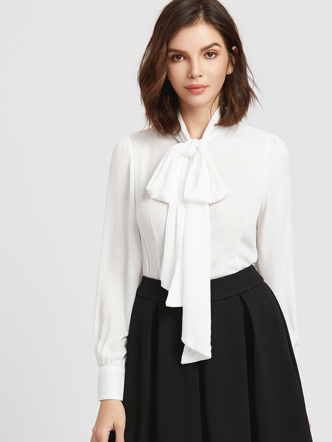 self tie neck cuffded sleeves curved hem blouse shein