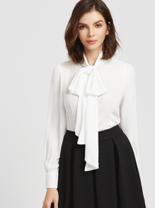 White Bow Tie Neck Curved Hem Blouse