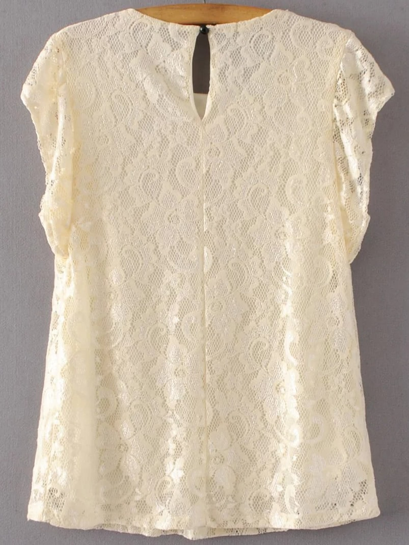 Apricot Flower Embroidery Cap Sleeve Lace Top SheIn