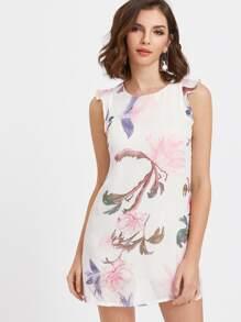 White Floral Print Ruffle Trim Chiffon Overlay Dress