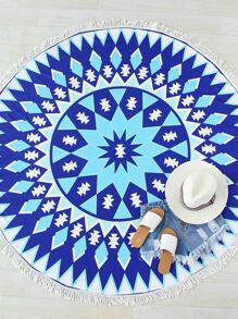 Blu stampa geometrica Fringe rotonda Beach Blanket