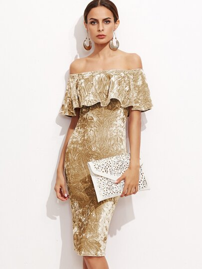 Gold Off The Shoulder Crushed Velvet Ruffle Dress