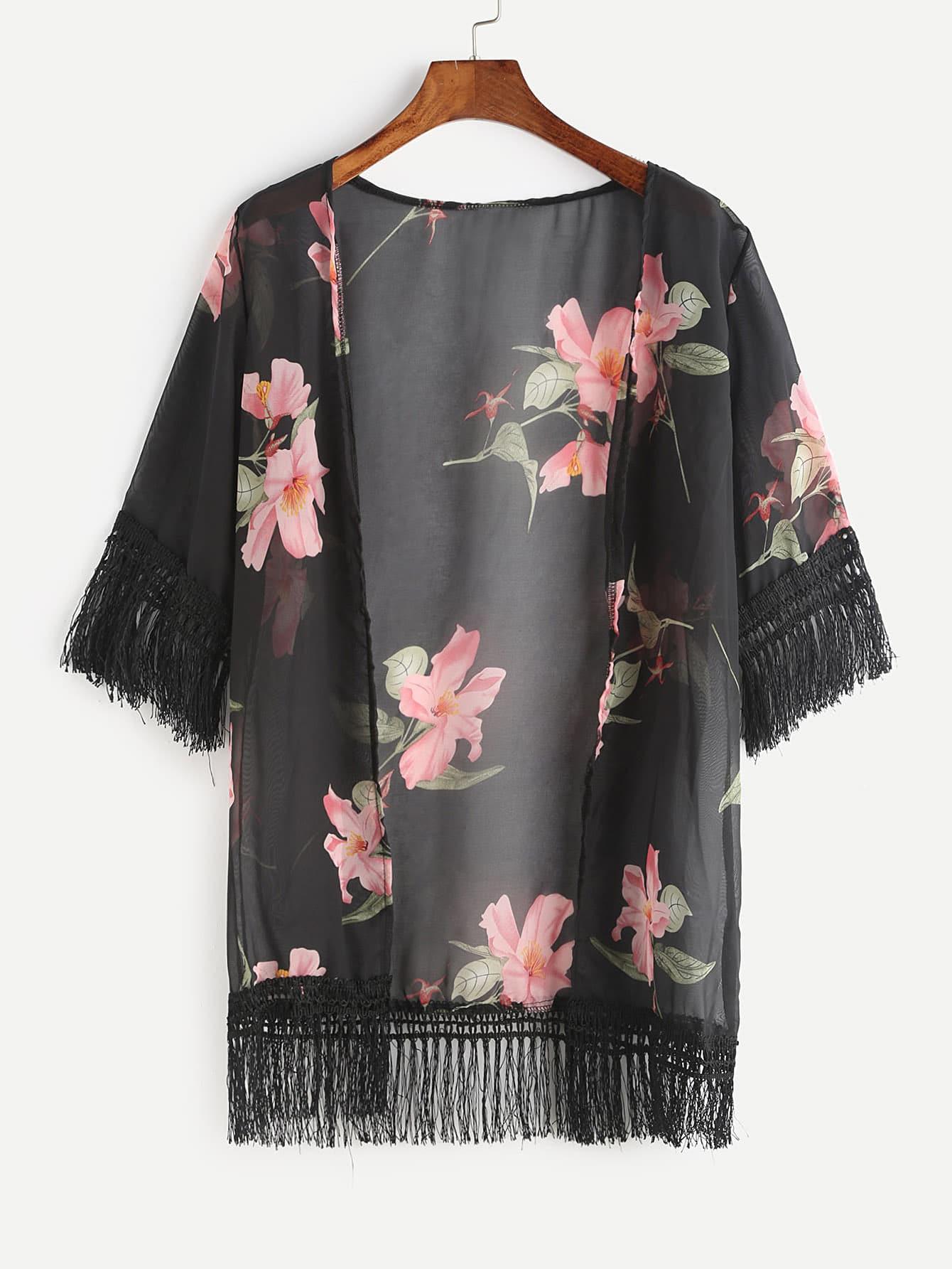 Black Floral Print Fringe Hem Chiffon Kimono (kimono170320003) photo