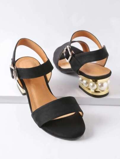 Sandalias con perla de imitación - negro