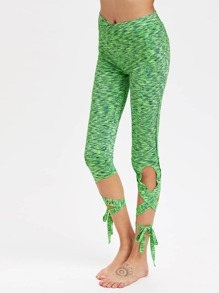 Space Dye Crisscross Self Tie Leggings