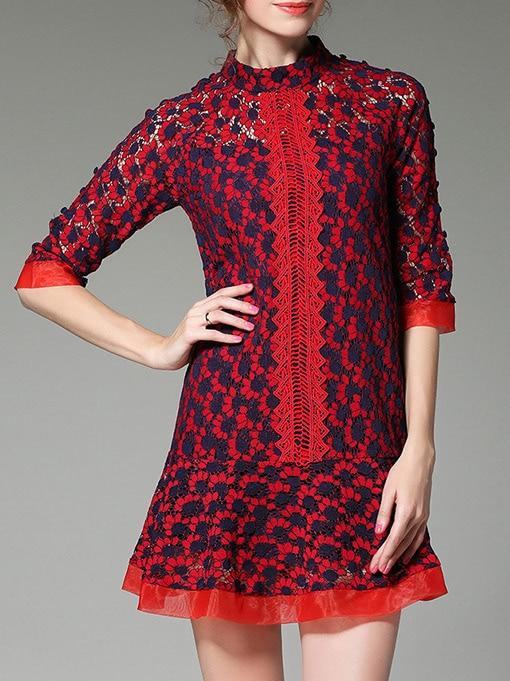 Фото Red Contrast Navy Mesh Lace Dress. Купить с доставкой
