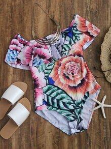 Bardot Neckline Floral Print Swimsuit