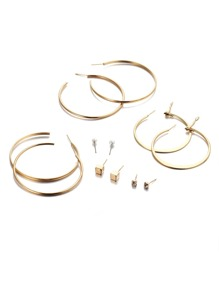 Gold Hoop And Stud Earring Set