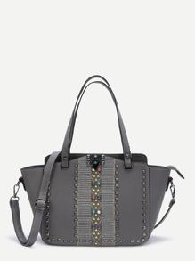 Grey Studded PU Handbag With Strap