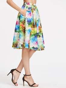 Jupe plissée avec imprimé - multicolore