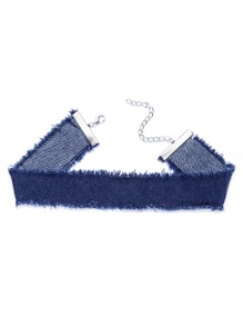 Blue Raw Trim Denim Choker