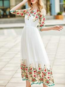 White Gauze Flowers Embroidered Dress