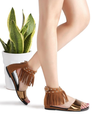 Brown Fringe Detail Ankle Strap Flat Sandals