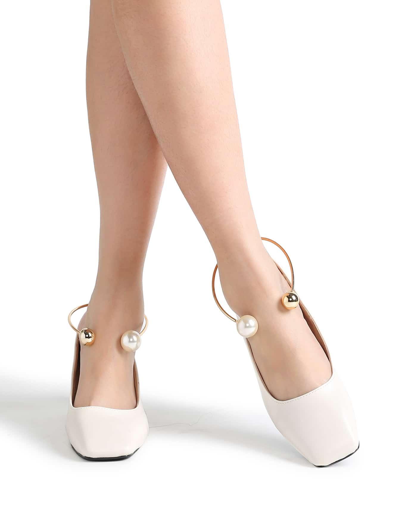 Фото White Square Toe PU Chunky Heeled Shoes. Купить с доставкой