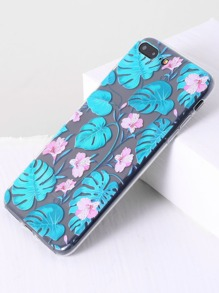 Blue Floral Print Transparent 7plus Case