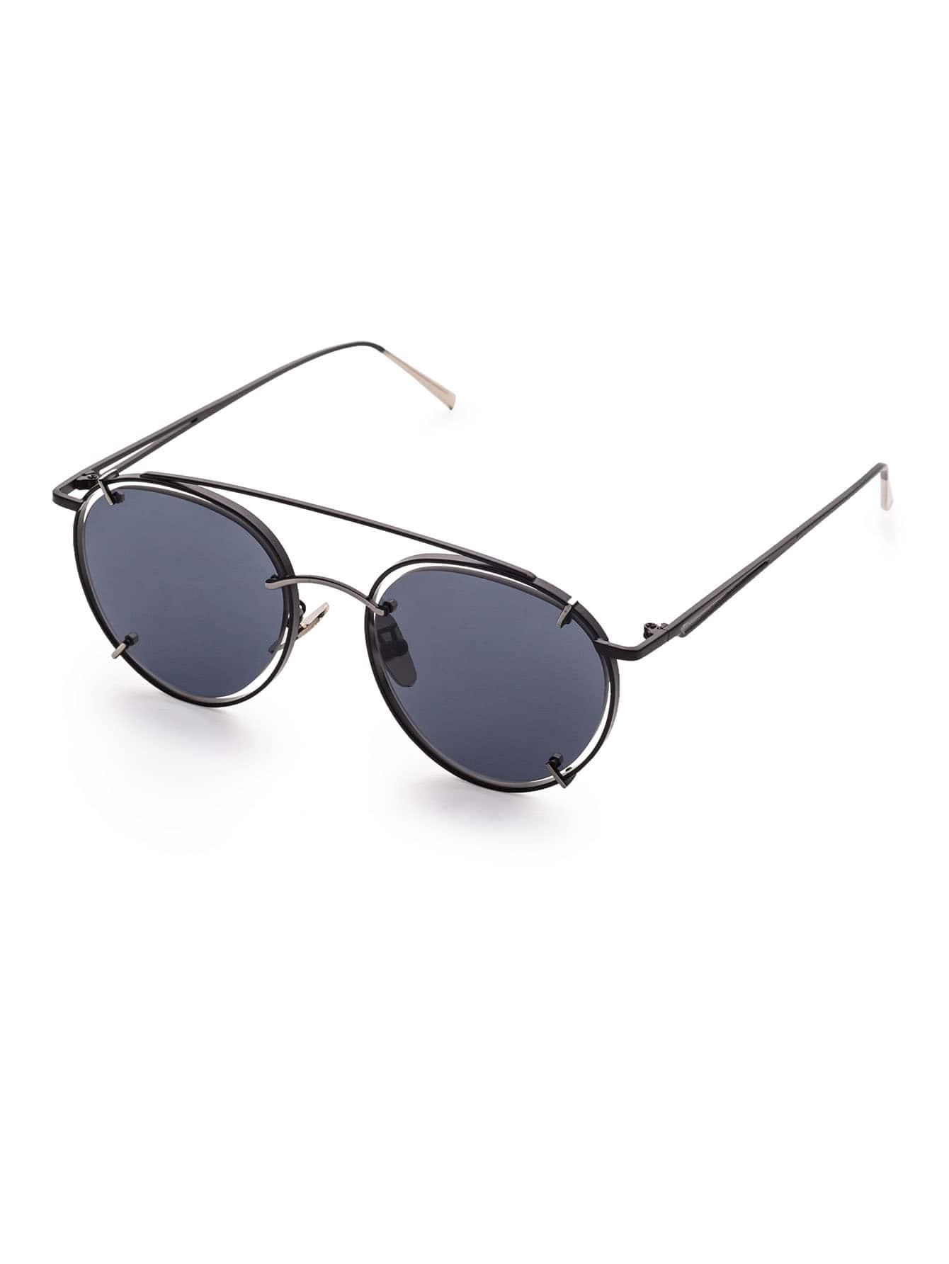 Фото Black Frame Double Bridge Sunglasses. Купить с доставкой